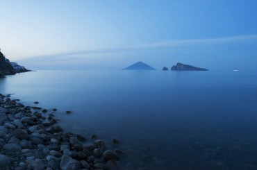 Aeolian islands off the coast of Sicily Italy at sunset