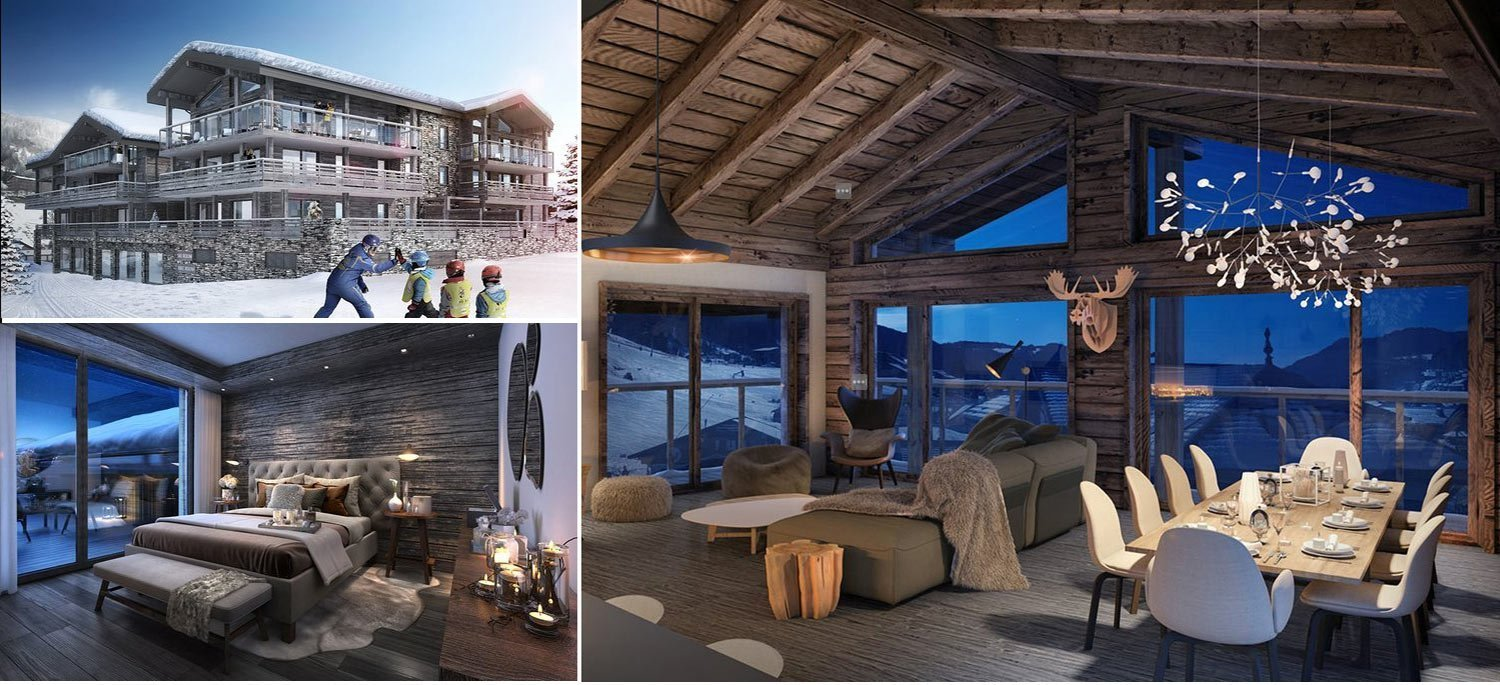 Collage of images from luxurious ski apartment in Les Gets in the French Alps