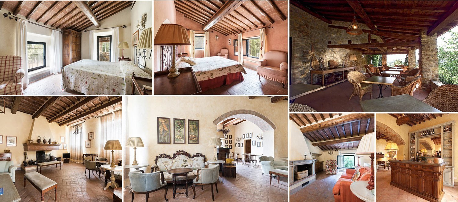 Image collage of charming country house for sale in Chianti, Tuscany