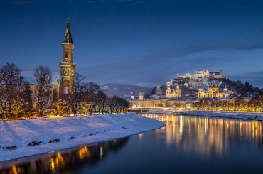 Winter night in Salzburg in Austria