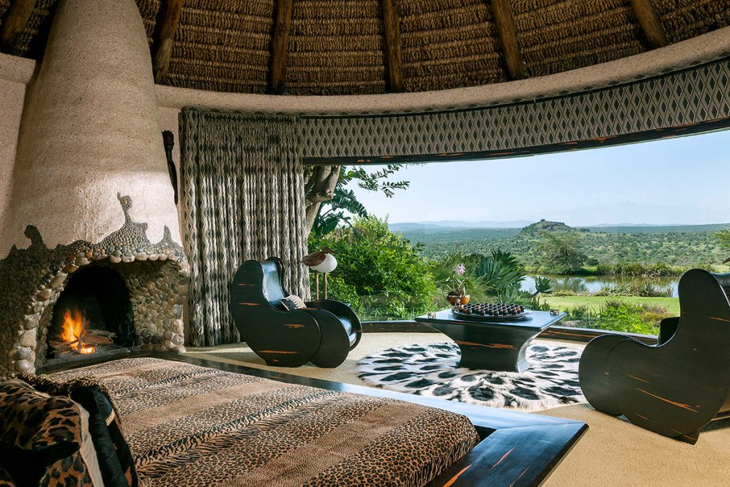 View from one of the luxury cottages at Ol Jogi private safari lodge and wildlife conservancy