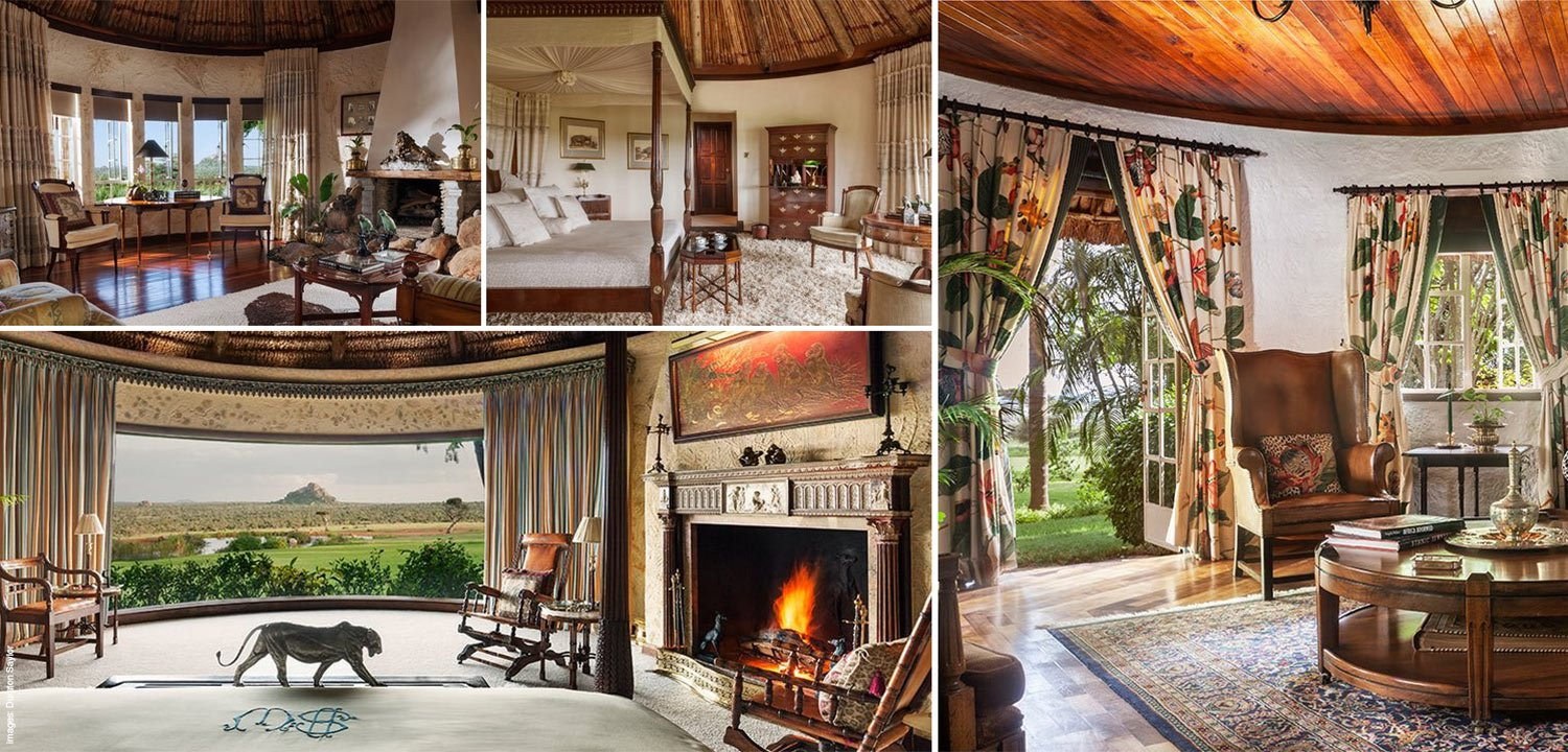 Image collage of interiors of some of the luxury cottages
