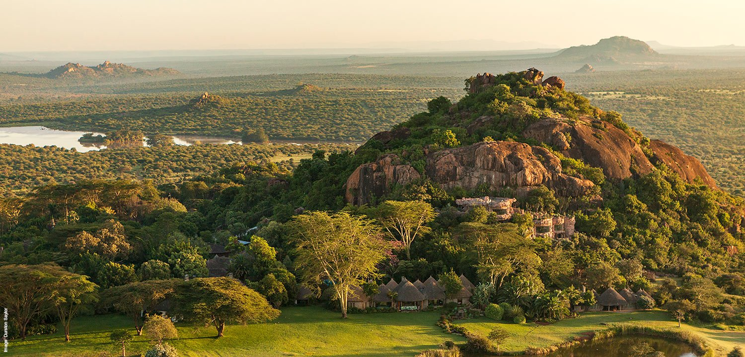 Aerial of Ol Jogi private wildlife conservancy in Laikipia in Kenya