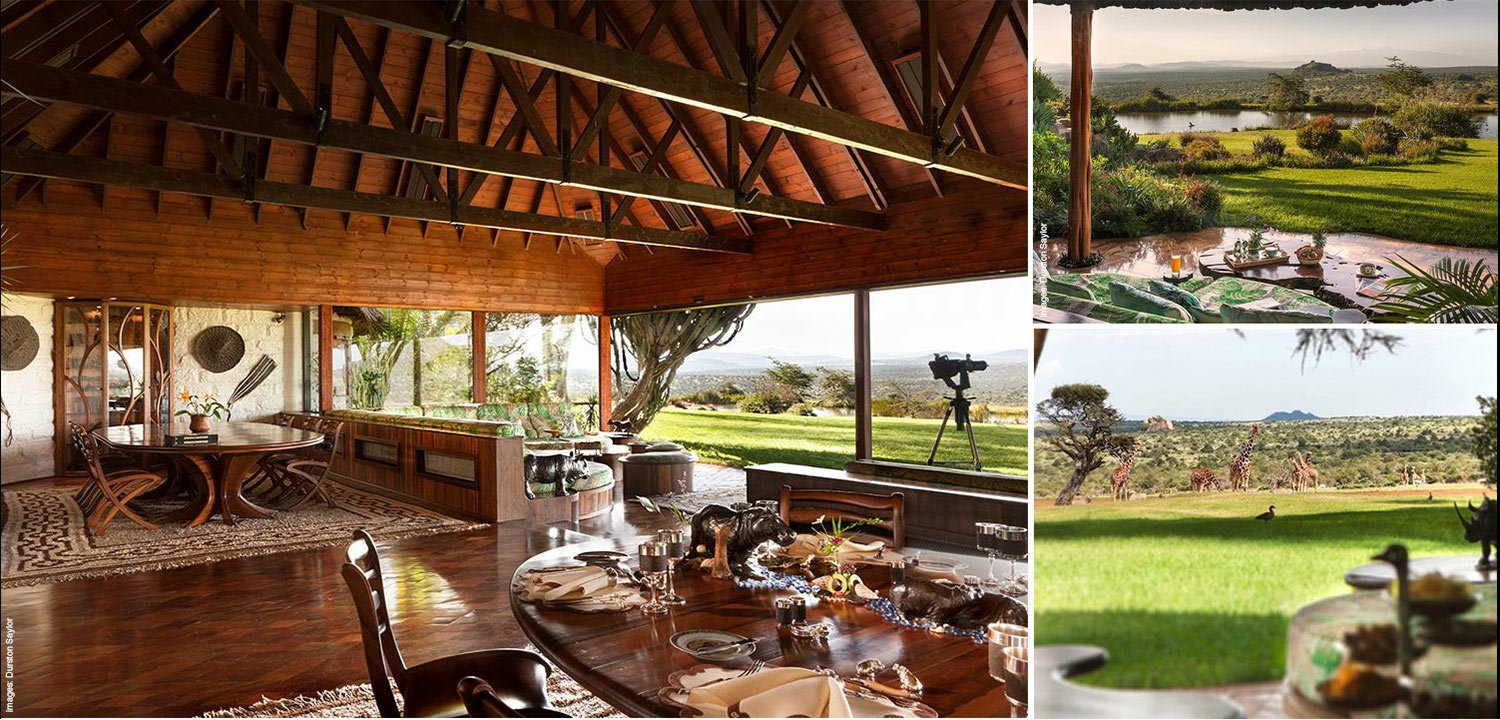 Collage with images of the main house at Ol Jogi private wildlife conservancy in Kenya