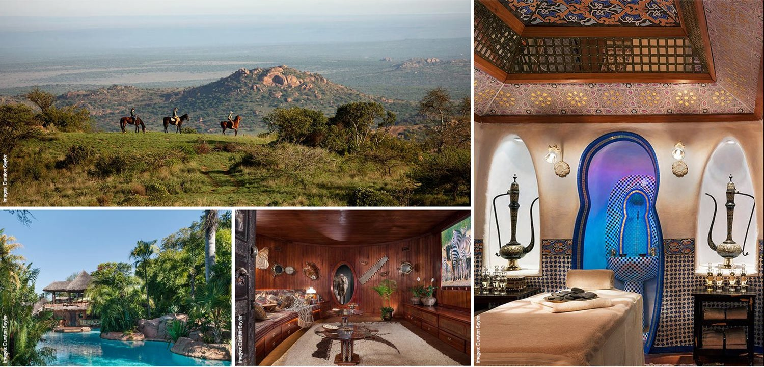Collage showing different activities available at the safari and conservation lodge