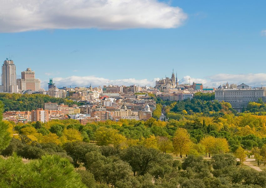 Aerial view of Madrid seen from the outskirts of the city
