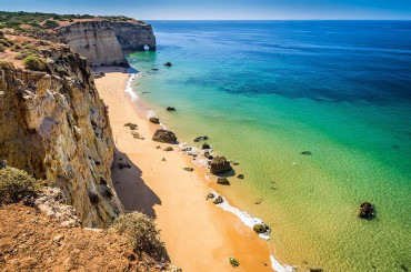 Cliffs and beach in Algarve a sunny day