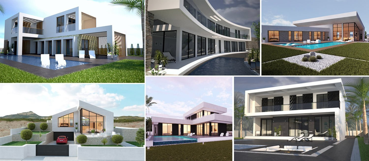 Image collage of photos and illustrations of bespoke villas in Costa del Sol