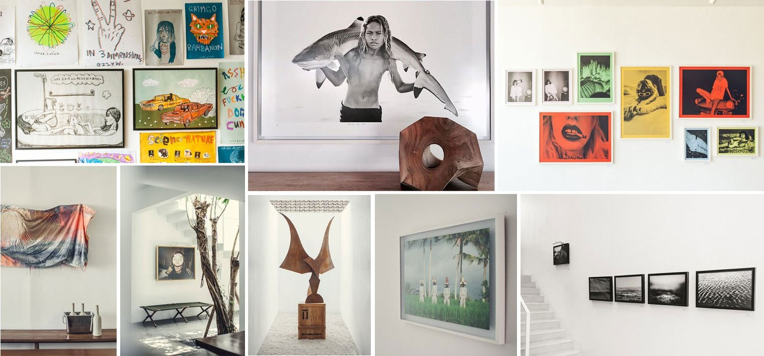 Collage of art collection at The Slow boutique hotel in Bali