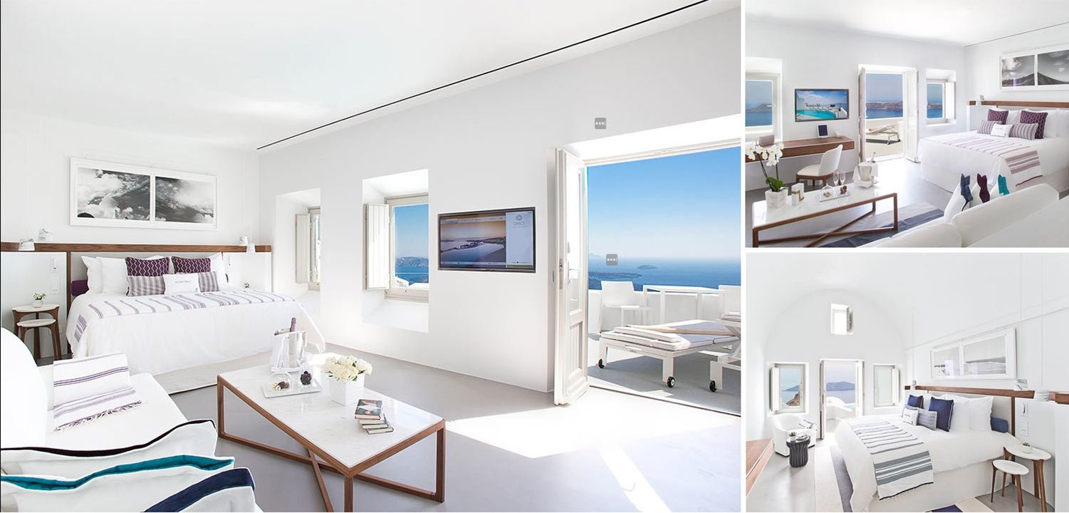 Collage of 3 different rooms at Grace Hotel Santorini