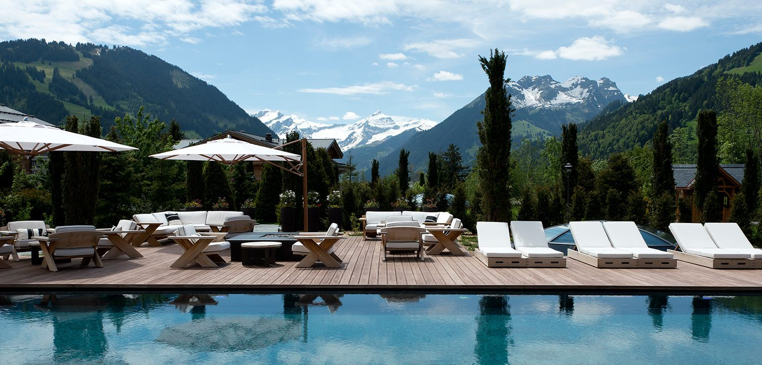 View of Alpine valley from the SPA pool at The Alpina Gstaad