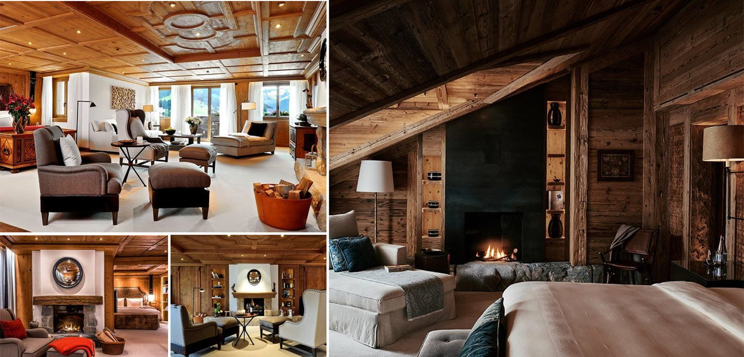 Photo montage of rooms at Alpina Gstaad