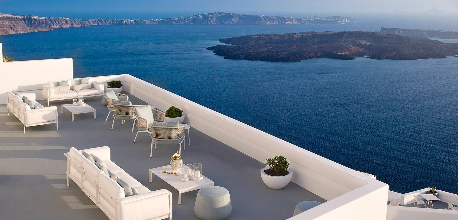 Champagne lounge overlooking the Mediterranean Sea