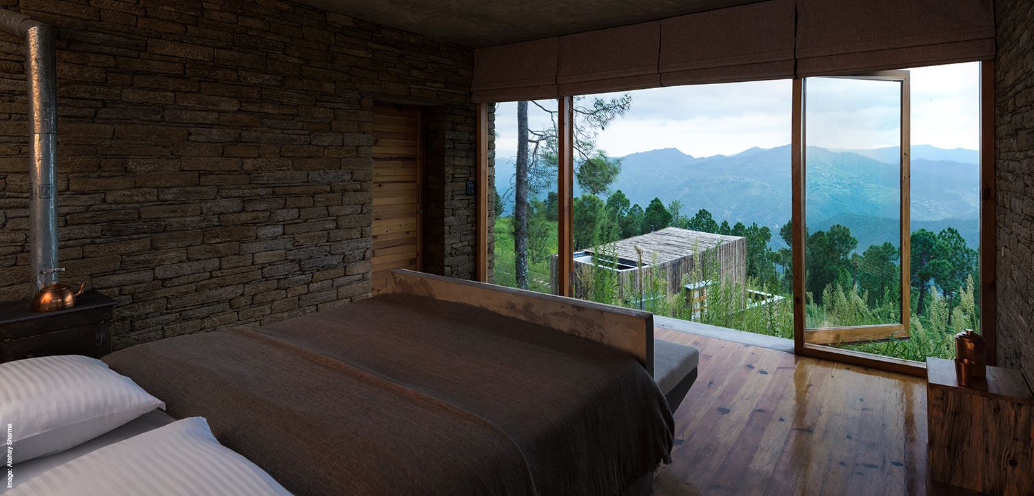 View of the Himalayas from a suite at The Kumaon India