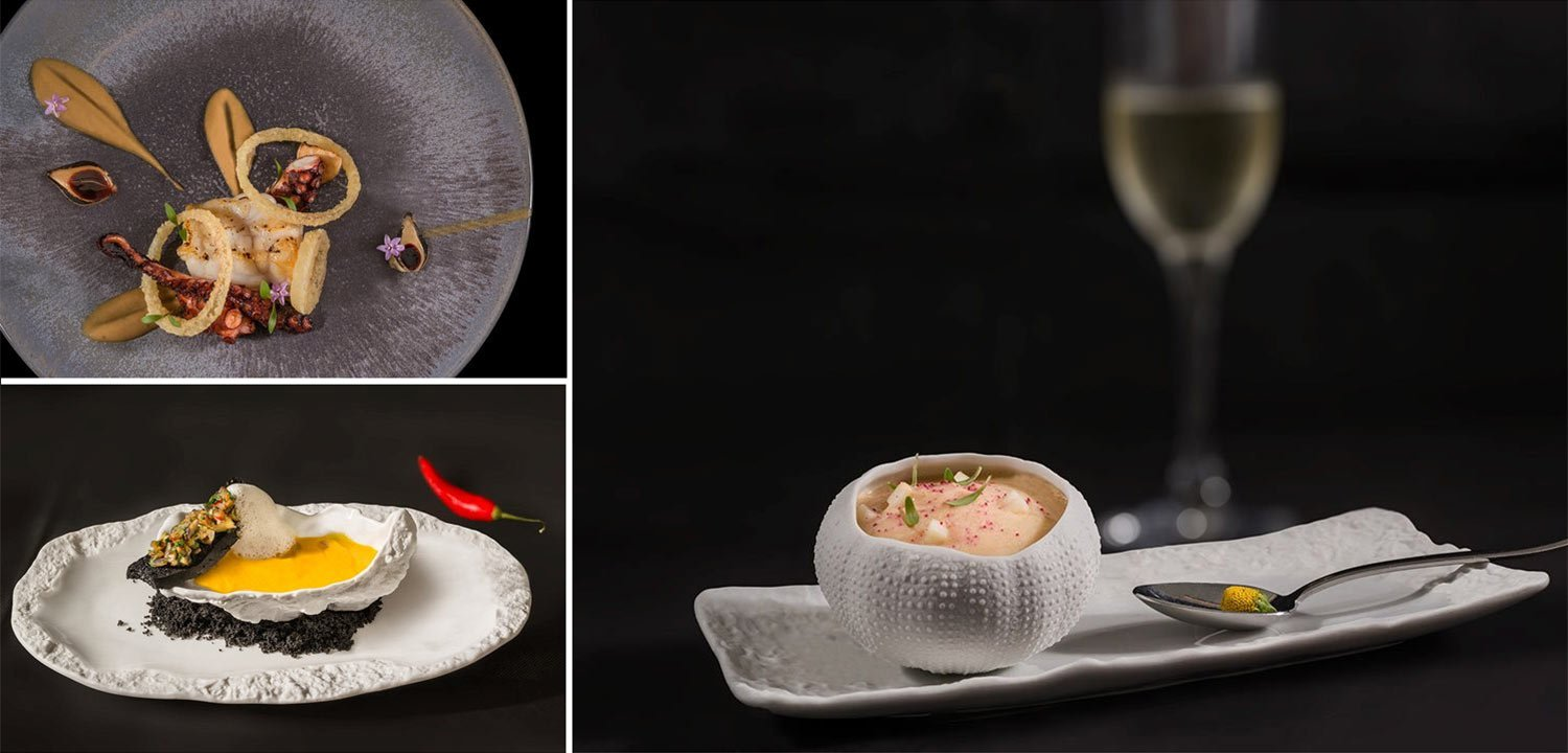 Fine dining at Grace Hotel in Santorini - collage of three plates