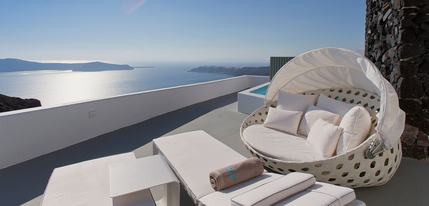 View of the Mediterranean Sea from one of the hotel's terraces