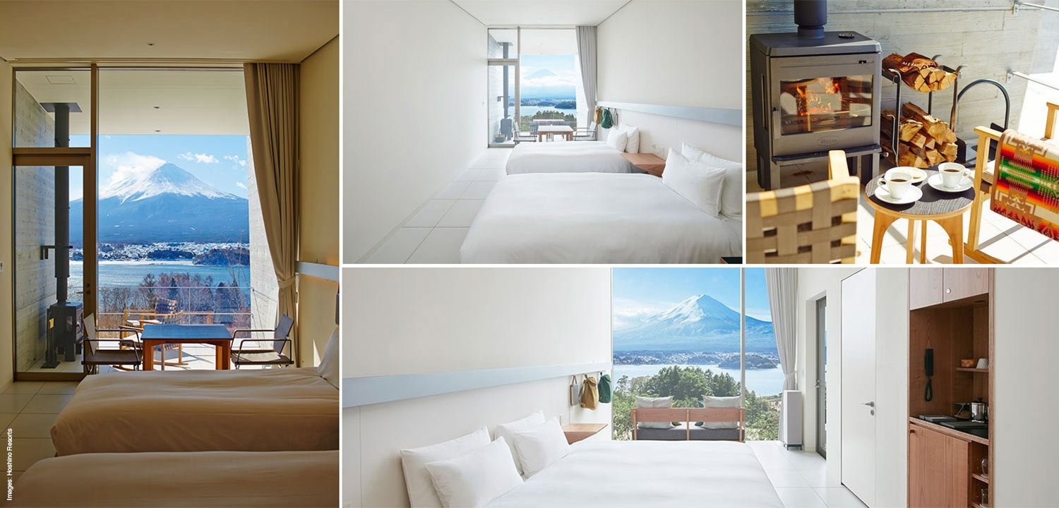 Image collage of the minimalist cabins at Hoshinoya Fuji
