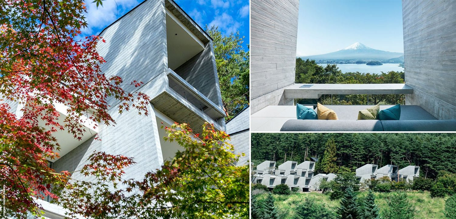 Collage of the minimalist design cabins at the 'glamping resort' Hoshinoya Fuji