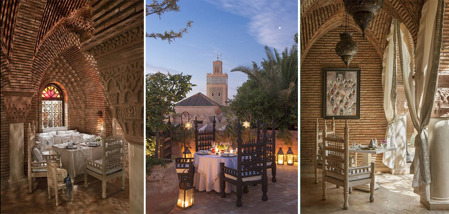Image collage of restaurants at La Sultana Marrakech