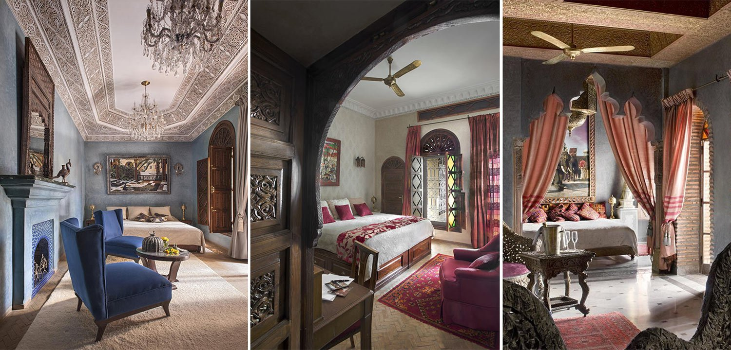 Collage of suites at La Sultana boutique hotel in Marrakech