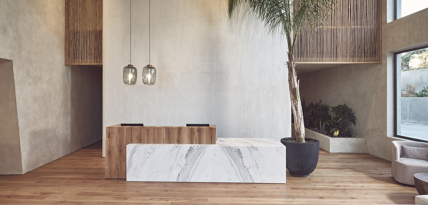 Reception desk at Olea