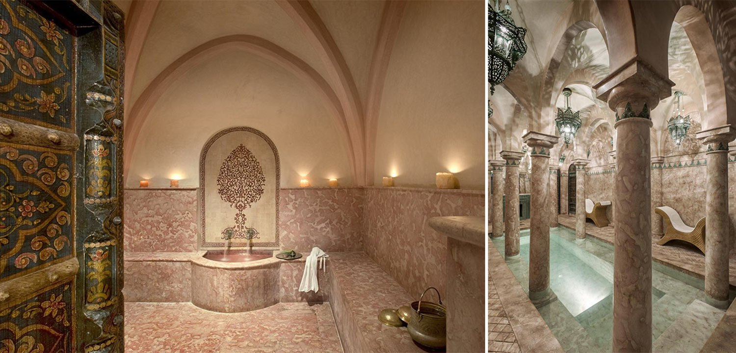 Collage of images of the spa at La Sultana in Marrakech