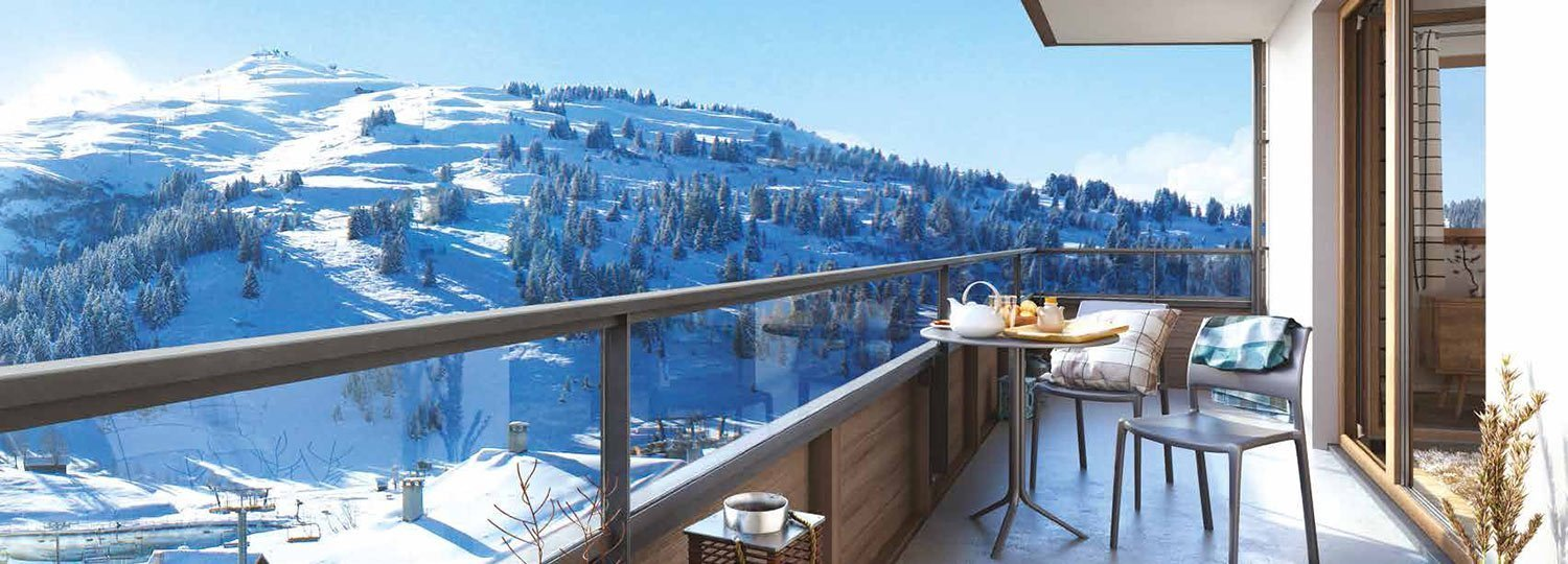 View from the balcony of a newly built ski apartment in Les Saisies