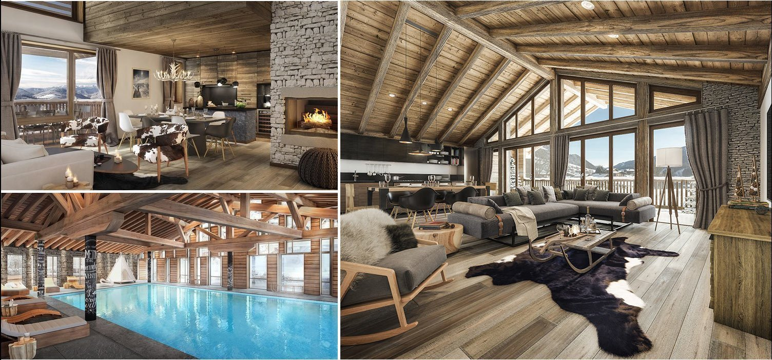 Collage luxury apartment in Megeve