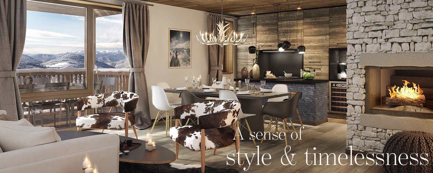 A sense of style & timelessness - living room in luxury apartment in Megeve overlooking the alpine landscape