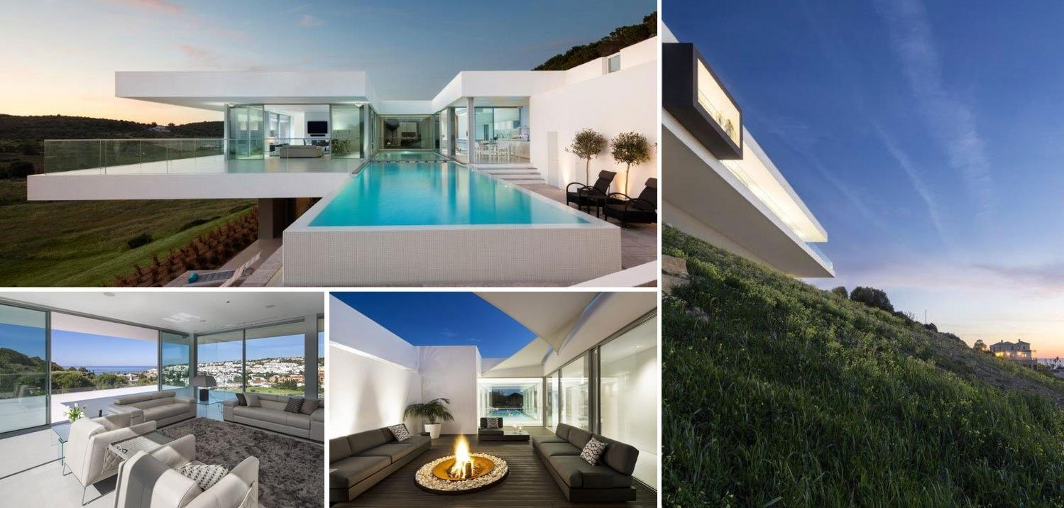 collage, modern villa in Algarve