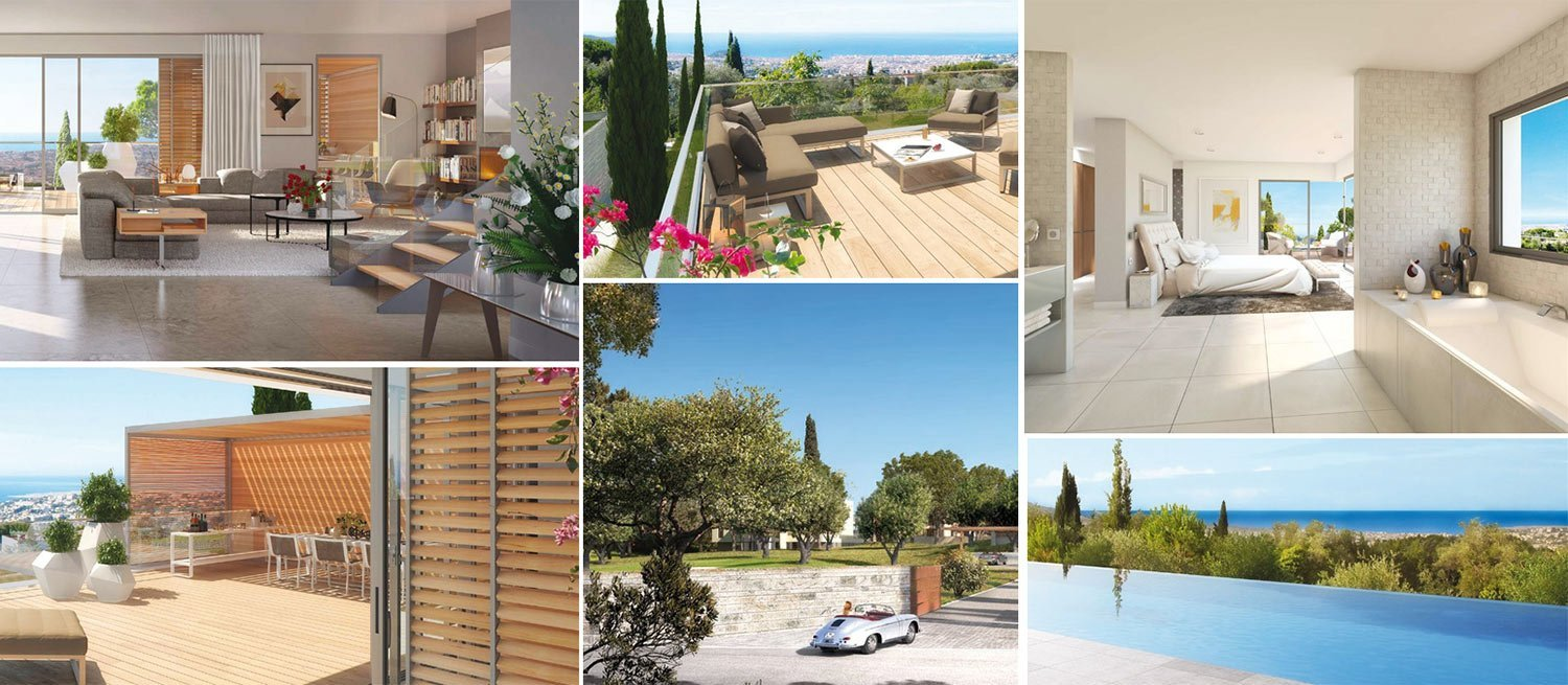 Image collage - luxury apartments in Domaine de Gairut near Nice, France