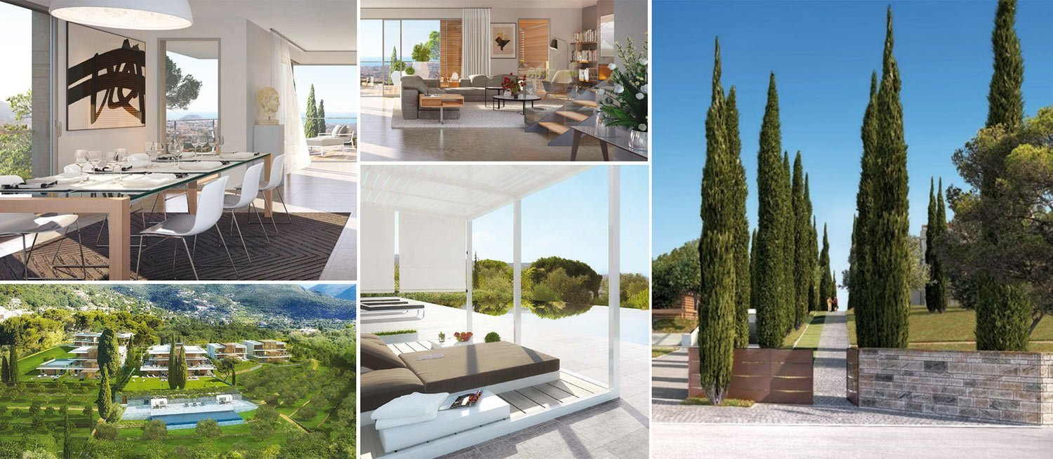 Collage of images of luxury property development Domain de Gairaut near Nice, South of France
