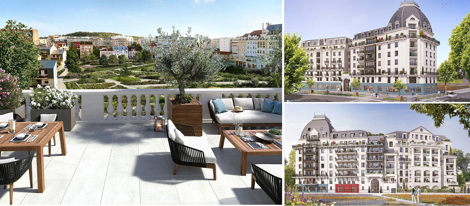 Image collage new luxury apartments development in Puteaux, Paris