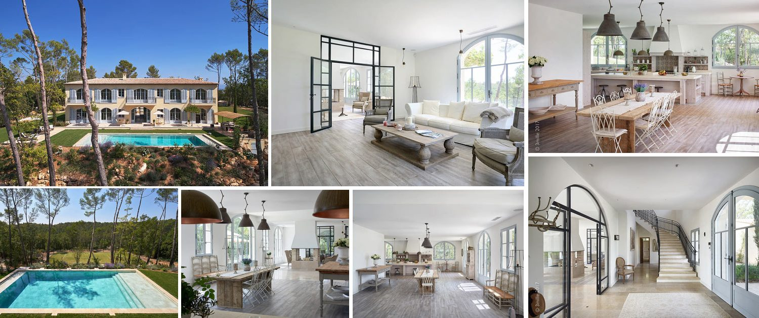 Composition of images of exclusive villa for sale at Domaine de Terre Blanche in Provence