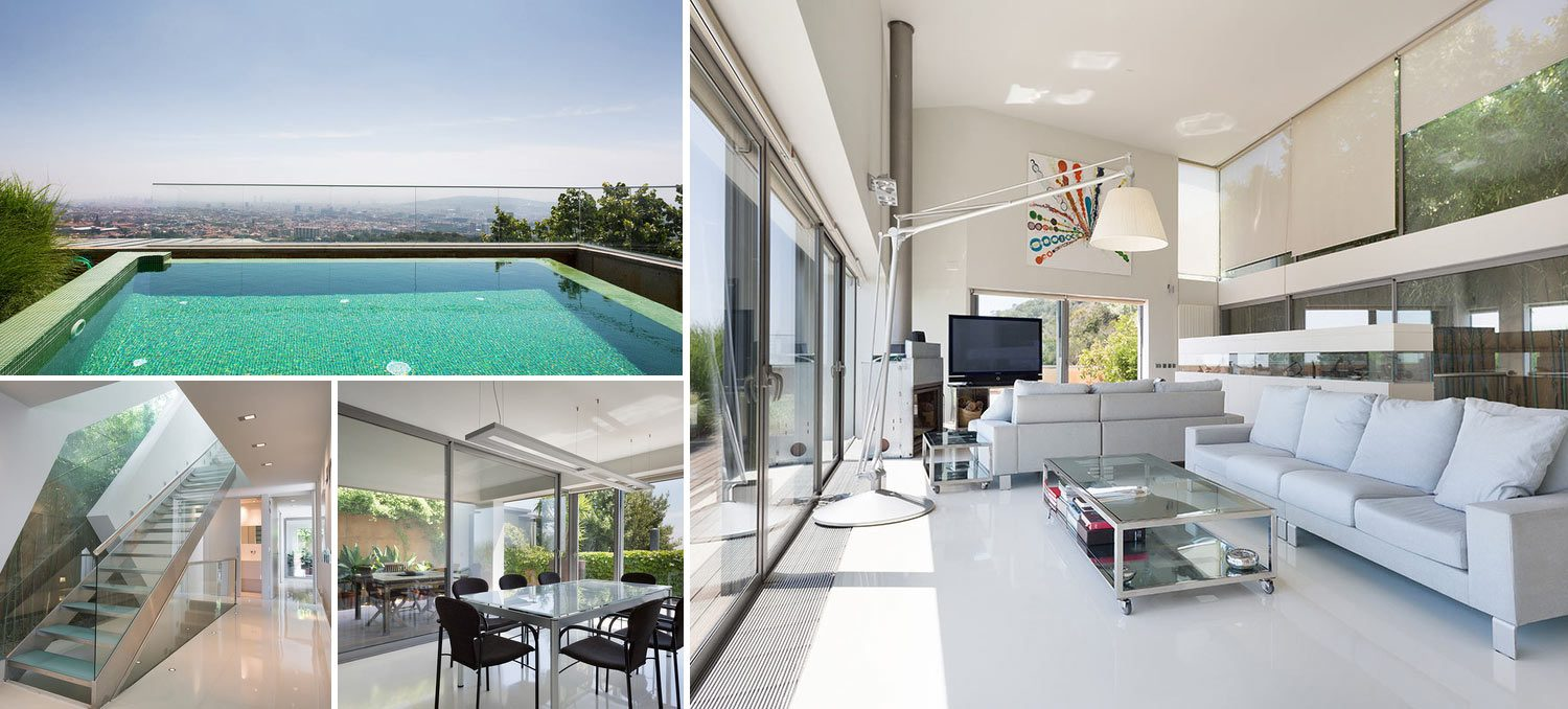 Collage of images of villa in Sarria Barcelona