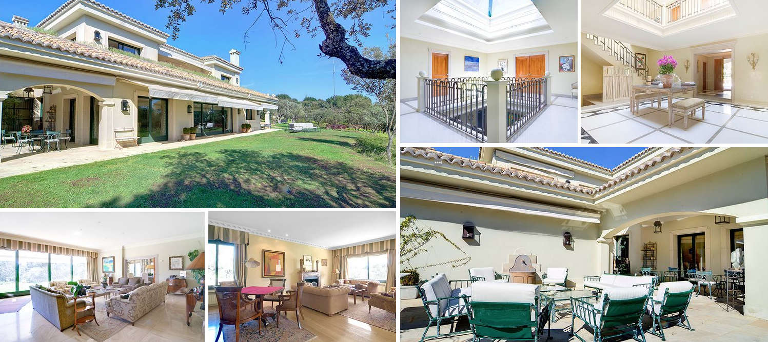 Collage of images of elegant villa in Madrid