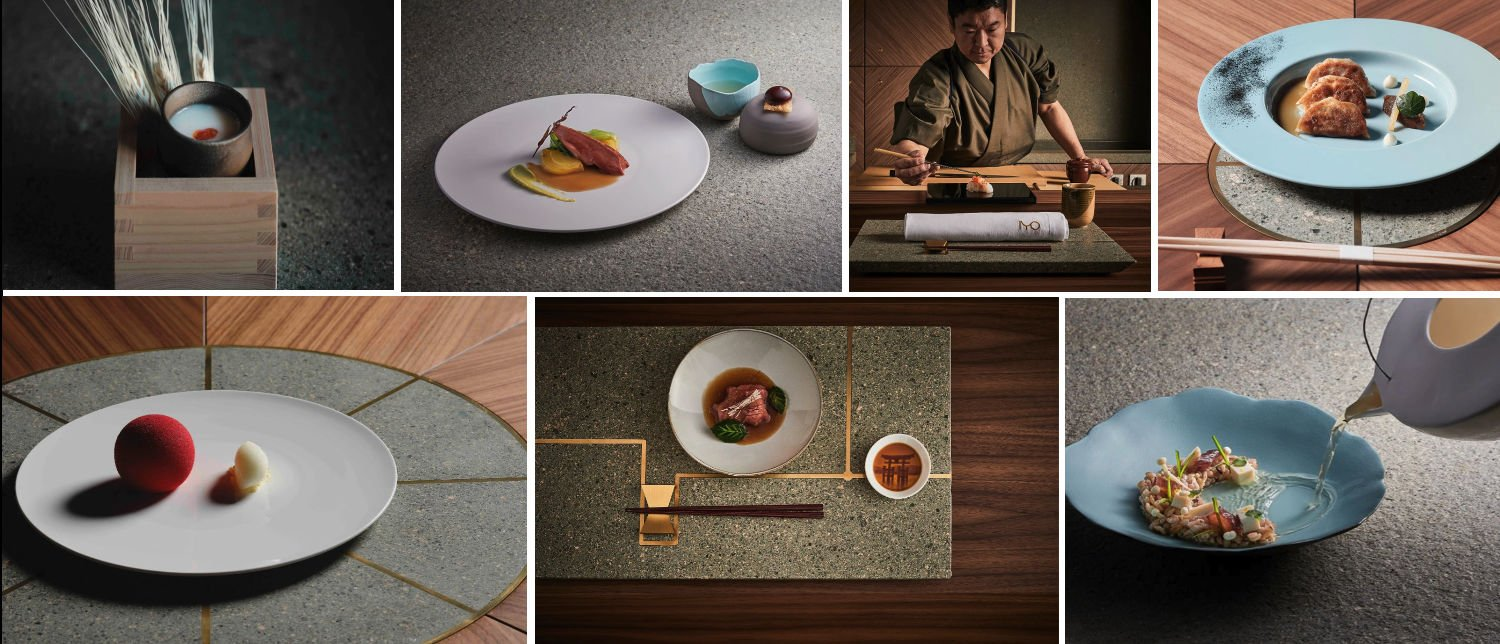 Image collage of dishes at restaurant IYO Aalto