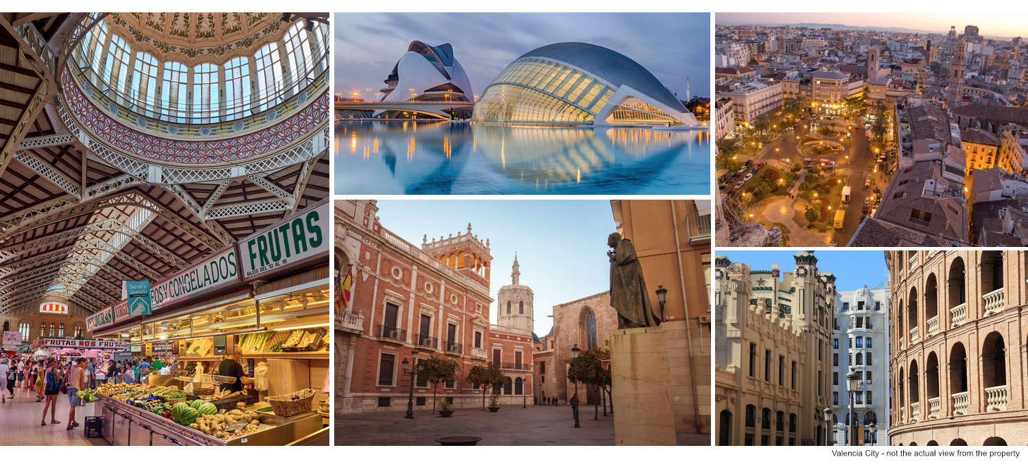 Collage of images of Valencia city centre
