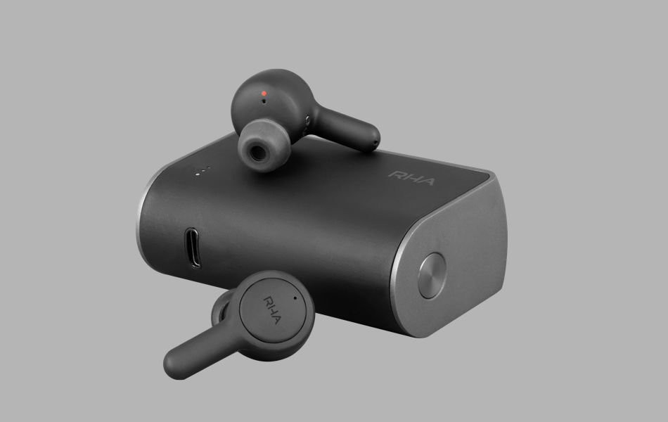 RHA bluetooth earbuds and charging case