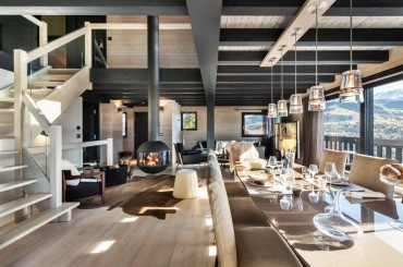 Family room prepared for dinner at chalet in Megeve