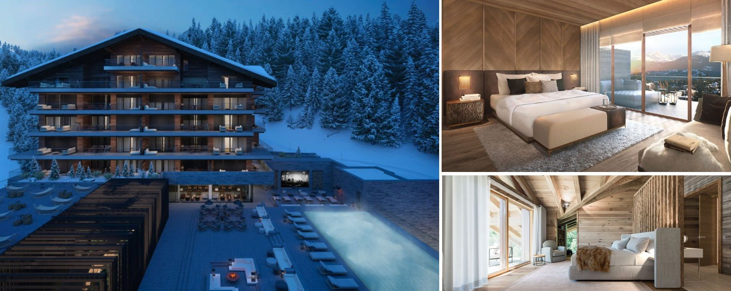 Photo collage of images from Six Senses Residences in Crans Montana
