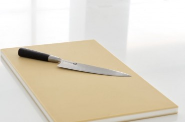 Hasegawa rubber cutting board with a Chef's knife on white worktop
