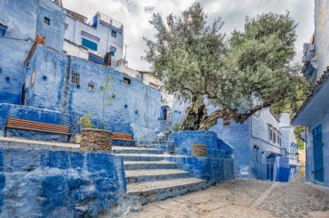 Steps at the blue city of Chefchaouen, Morocco