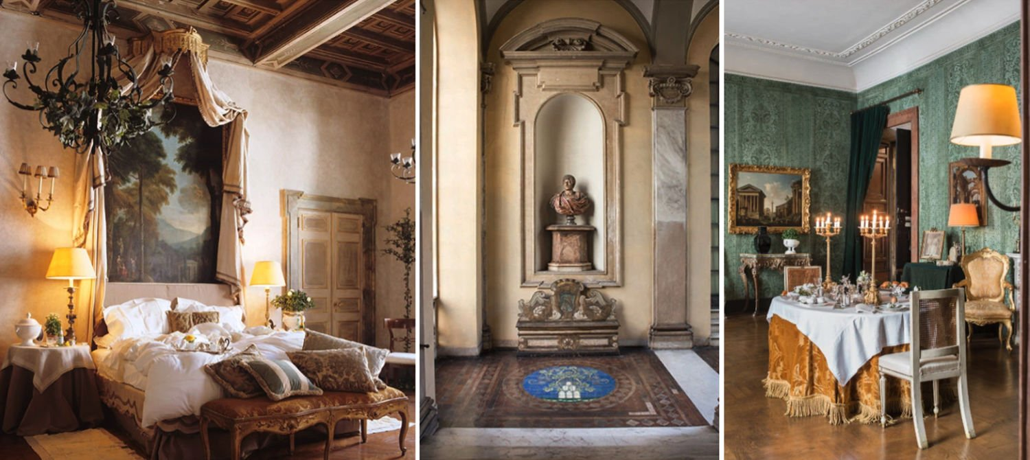Collage of the Napoleone suite at Residenza Napoleone III in Rome