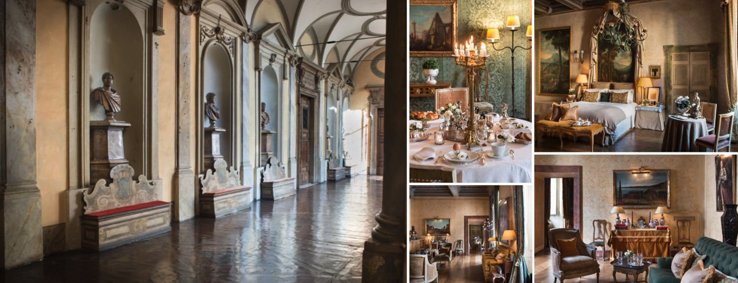 Collage of luxury boutique hotel Residenza Napoleone III in Rome