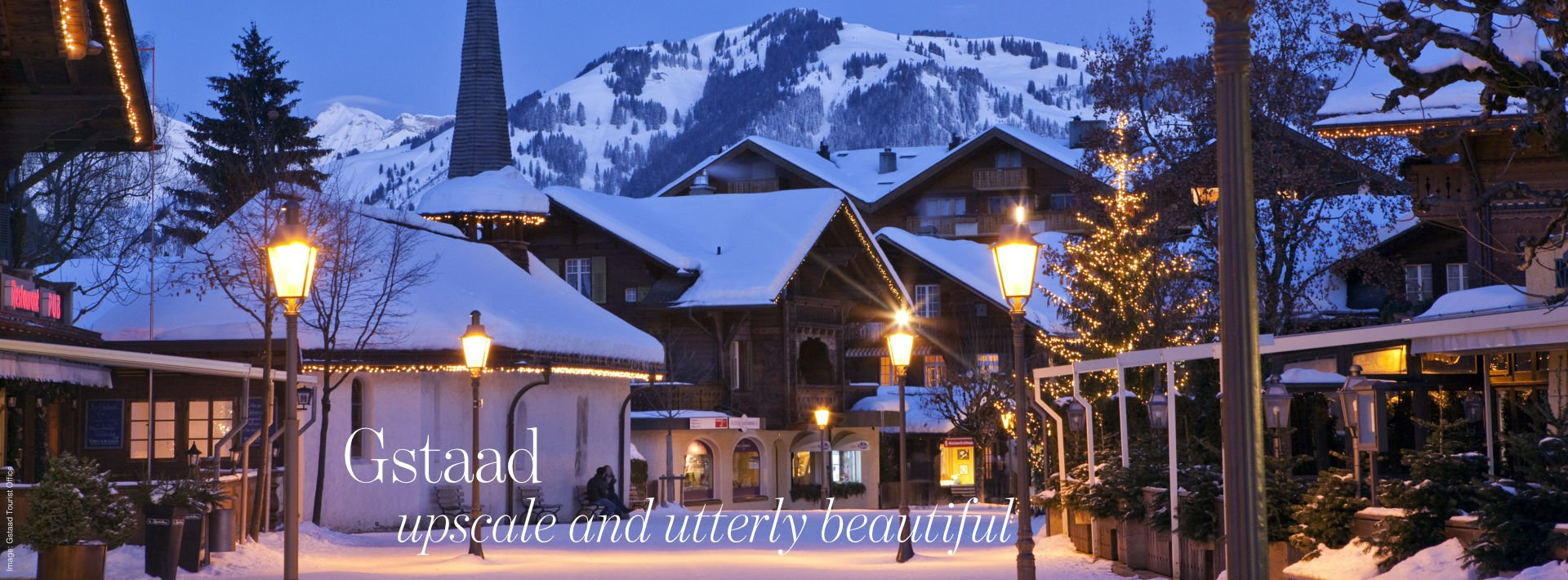 The promenade in Gstaad an early winter evening