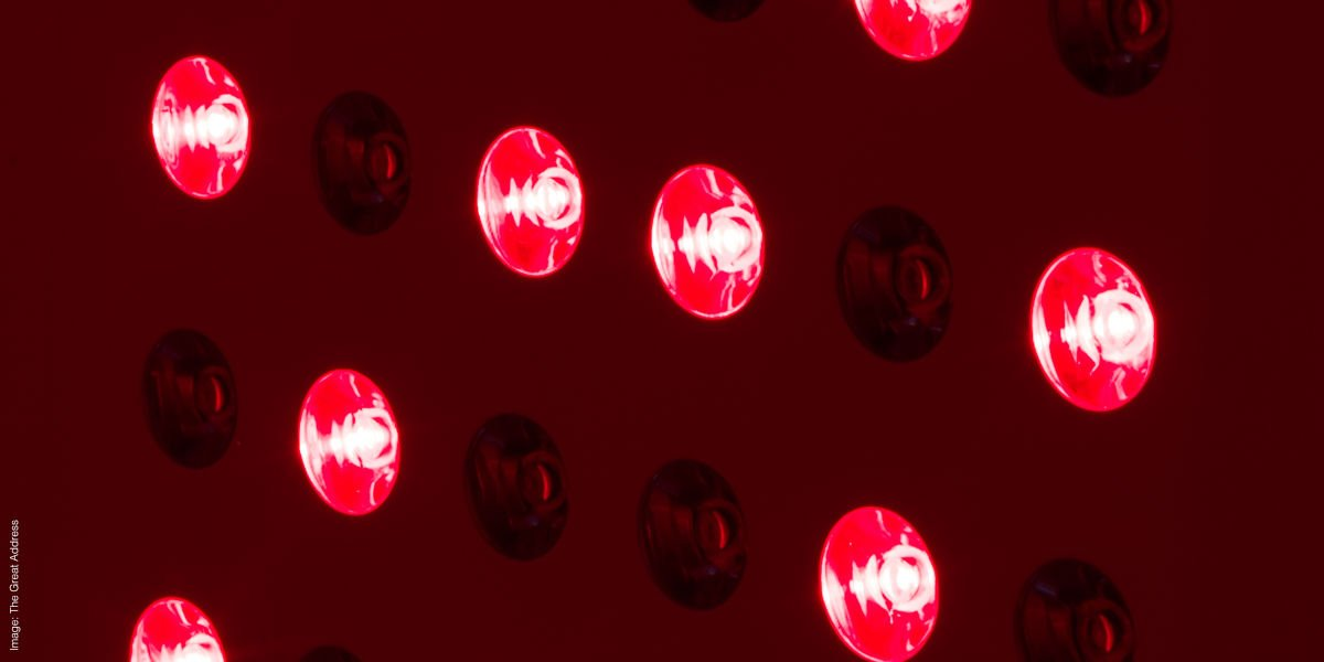 Detail of red light therapy device