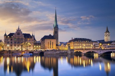Zurich, capital of Switzerland at sunset