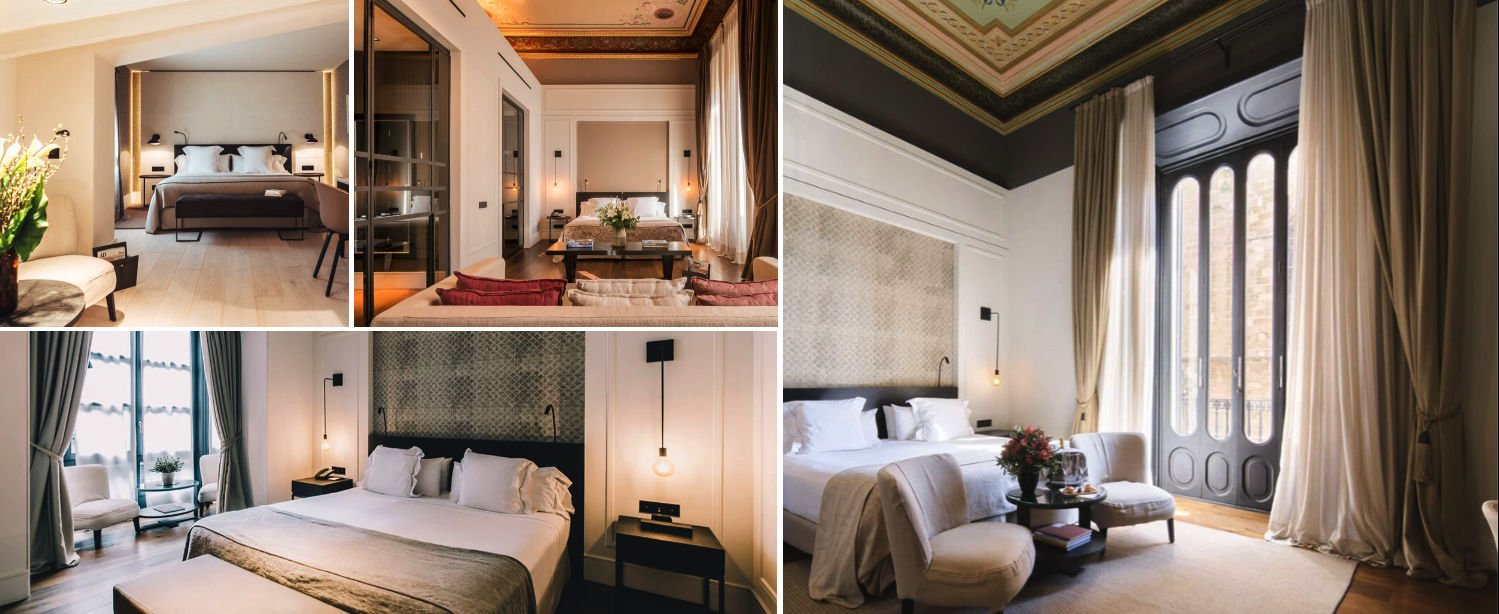 Collage showing the different room categories at Hotel Sant Francesc