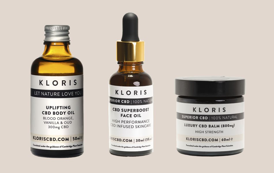 Three CBD products from Kloris, body oil, face oil and balm